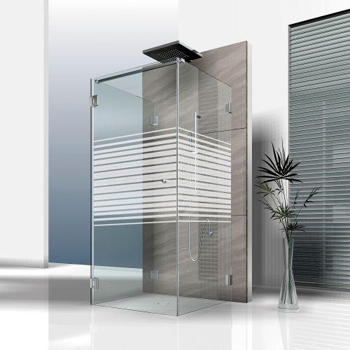 Mattfolie, Streifenmuster 03 zur partiellen Gestaltung von Duschkabinen  Vorschaubild #1